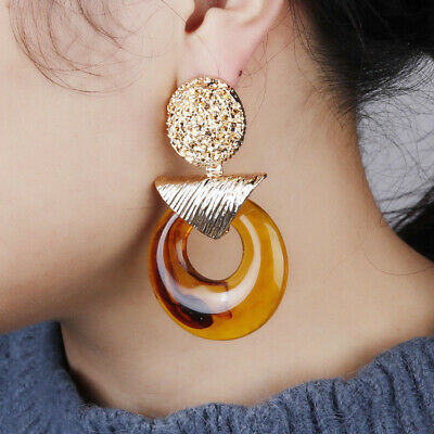 Hot Female Alloy Acrylic Circle Dangle Drop Earring Weddings Party Accessories