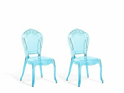 Set of 2 Accent Chairs Acrylic Transparent Blue VERMONT