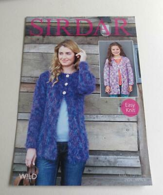 Sirdar Wild Wool Girl's And Woman's Cardigan Knitting Pattern - Easy Knit