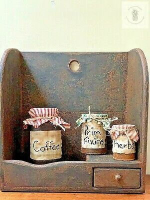 Primitive HERBS Pantry Tin Can Grubby Cupboard Tuck Early Look Homestead