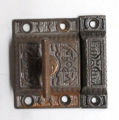 Antique Cast Iron Ornate Cabinet Latch with T Bronze Handle