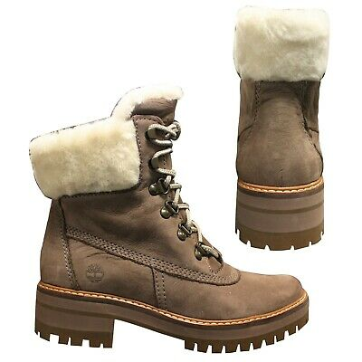6183cf0852 Timberland Courmayeur Valley Shearling Womens Lace Up Boots Taupe A1SA8 T4I