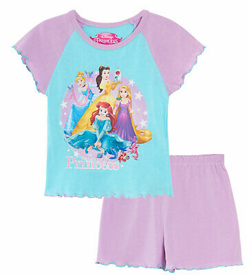 Girls Disney Princess Short Pyjamas Kids Character Shortie PJ Set Nightwear Size