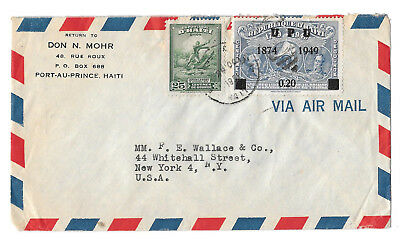 Haiti 1951 Airmail Cover to US New York Scott 374 388 UPU .20 c Overprint