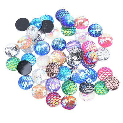 50Pcs 12mm Mix Fish Scale Mermaid Flat Back DIY Craft Resin Cabochons BraceletWL