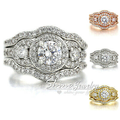 VICTORIAN 18K GOLD GF Three-STONE HALO DIAMOND SOLID ENGAGEMENT WEDDING RING SET