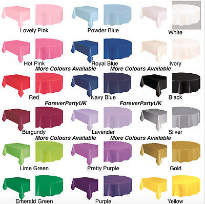 UK Rectangle & Round Plastic Disposable Table Cloth Covers Cover Party Rectangle