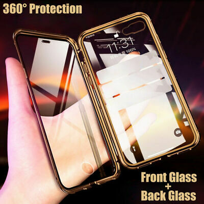 Case For iPhone 7 8 Plus X XR XS-max Metal Magnetic Double sided Tempered Glass