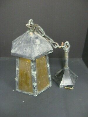 Antique VTG Arts & Crafts Gothic Iron & Amber Glass Hanging Porch Light Fixture