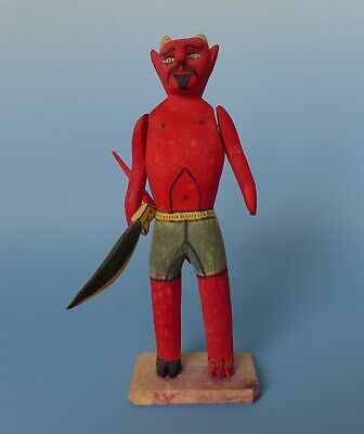 "Vintage Mexican wood carved devil diablito Oaxaca 9 3/8"" tall"
