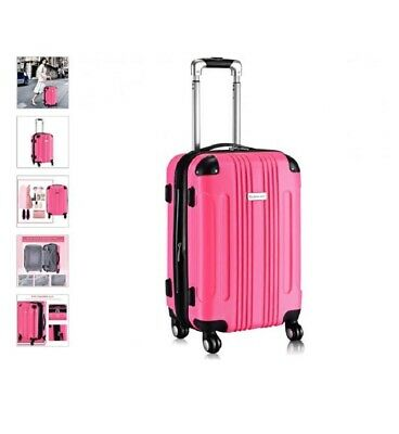 "Pink Expandable 20"" Rolling Carry On Luggage Travel Bag Suitcase Lightweight"