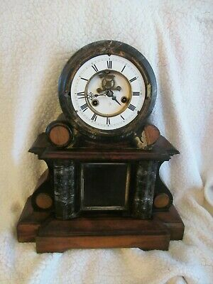 Vintage Junghans clock and movement with a wooden surround   - repair / spares