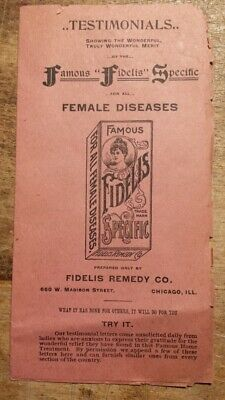c1890 Famous Fidelis Specific Quack Medicine Remedy for Female Diseases Chicago