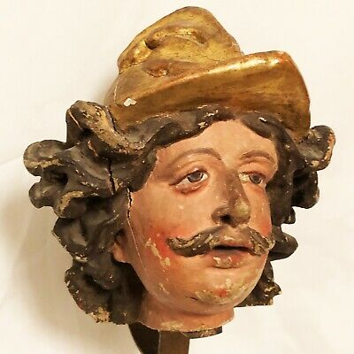 Antique Carved Wooden Fragment Spanish Conquistador Head