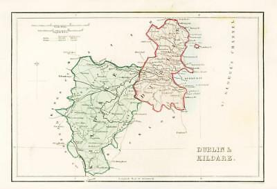 1840 IRELAND - Original Antique Map of DUBLIN & KILDARE (004)