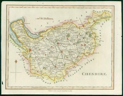 """1794 - Original Antique Map of """"CHESHIRE"""" by John Stockdale hand coloured (bm30)"""