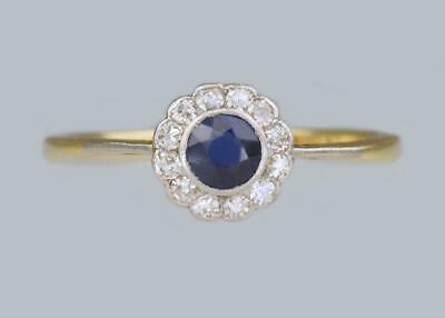 Art Deco Sapphire & Diamond Cluster Ring Vintage 18ct Gold 1920's Daisy Ring