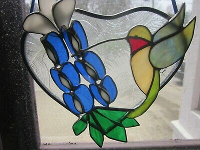 Vintage Hummingbird Lupine Flower Crackle Heart Stained Glass Suncatcher   Bx91
