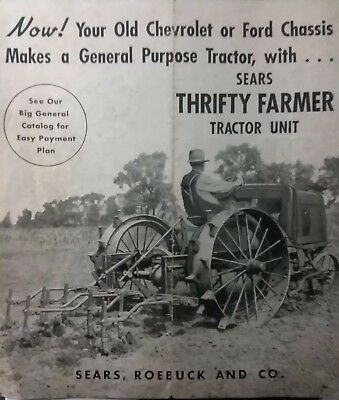 Sears Thrifty Farmer Tractor Build Chevrolet Ford 1937 Sales Brochure Catalog