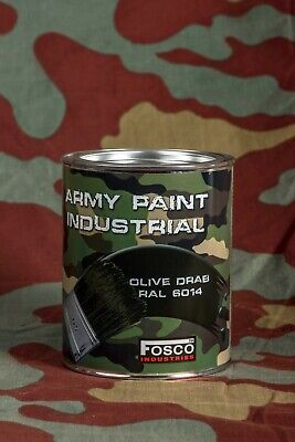 Vernice militare Fosco barattolo 1litro US olive drab verde, WW2 can Army paint