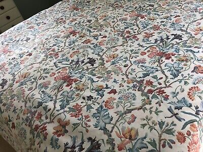Vintage SHERIDAN Cream Teal Blue Red Double Duvet Cover