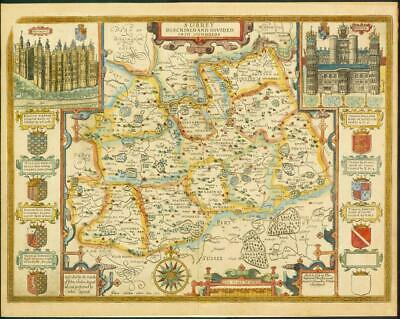 1676 Original Antique Map - SURREY by John Speed Bassett Chiswell Hand Coloured
