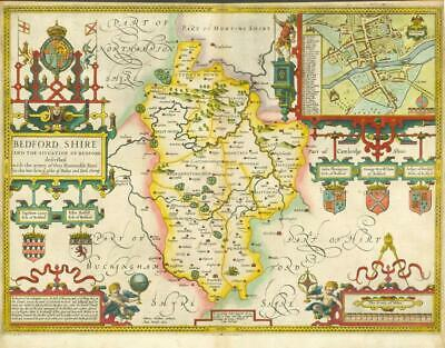 c1627 Original Antique Map - BEDFORDSHIRE by John Speed - George Humble edition