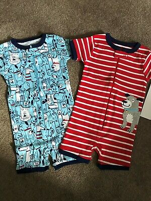 NEW Carters Baby Boys 2 Pack Romper Cotton Pajamas - 12 Mths - Dog Theme
