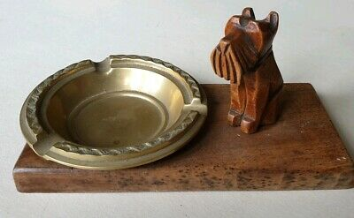 Vintage Hand Carved Wooden Scotty Dog Smoking Stand. Brass Ashtray (French)