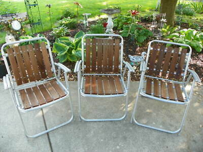 3 Vintage Aluminum & Wood Slat Folding Lawn Chair, Redwood, Red Wood, Wooden