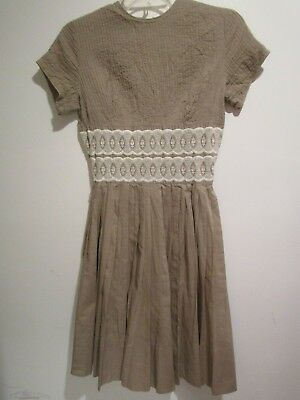 631e1d255 Vintage 1950 60s Vicky Vaughn Lovely Pleated Stitched Lace Dress Taupe XS /  S