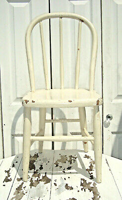 VTG ANTIQUE CHILD'S SHABBY CHIPPY PAINTED CHAIR - Country Farmhouse Kitchen Doll