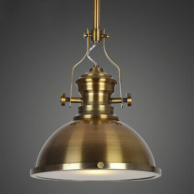 Industrial Antique Brass LED Pendant Lamp Frosted Diffuser Polish Pendant Light