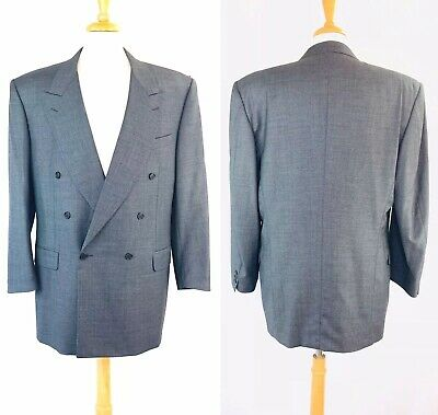 Canali Blazer Gray Plaid Double Breasted Wool Sport Suit Jacket Coat Mens 54L