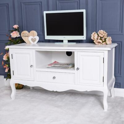 White Television Stand TV Unit Cabinet Stand French Vintage Chic Lounge Diving