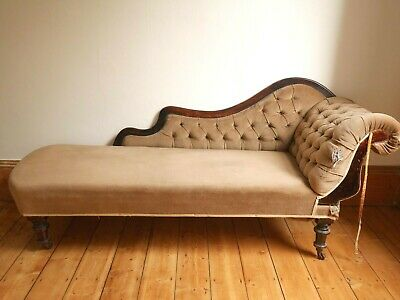 Shabby chic antique Victorian small Meridienne style chaise longue sofa