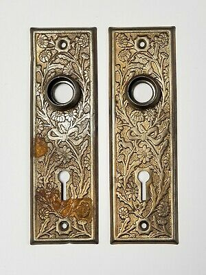 "A04 Antique Pressed Steel Doorknob Backplate PAIR set 5 1/2"" x 1 5/8"""