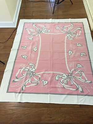 "VTG Mid Century Pink Gray Tablecloth Lilies 51"" X 61"" Cottage Farmhouse Country"