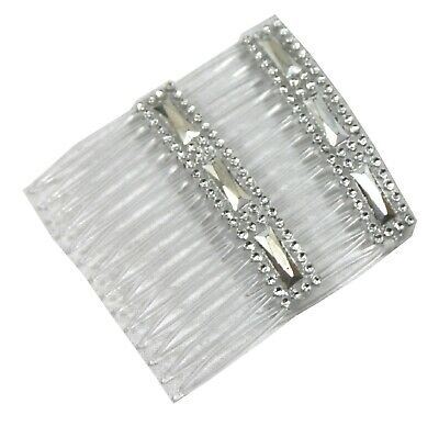 2 Clear Grip Hair Combs Slides 7cm with silver & Diamontie Diamante effect