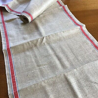 Vintage Natural Linen Red & Blue Strip Kitchen Towel Fabric Roll - 5 yds x 18""