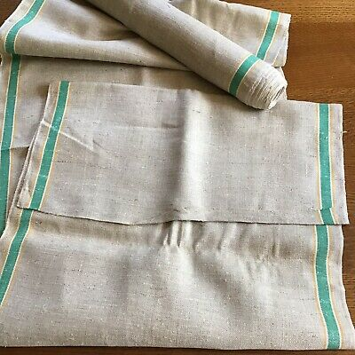 "Vintage Natural Linen Green & Gold Strip Kitchen Towel Fabric Roll - 178""  x 18"""