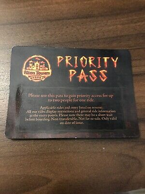 Alton Towers FAST TRACK Priority Pass Wickerman Or Other
