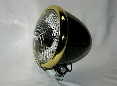 Black Powder Coated Bullet Headlight with Brass Plated Ring. Bobber