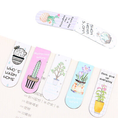 6pcs Colourful Cartoon Marker Foldable Mini Magnetic Bookmark Assorted Page Note