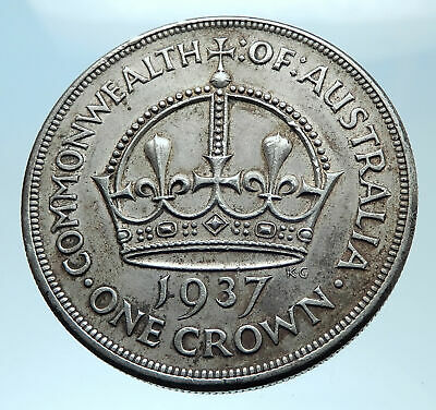 1937 AUSTRALIA Great Britain UK King George VI Big SILVER CROWN Coin i77971