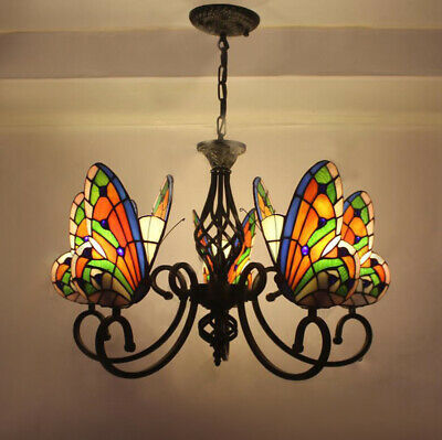"""Vintage Tiffany Style Stained Glass Butterfly 5 Arms Wrought Iron Chandelier 27"""""""