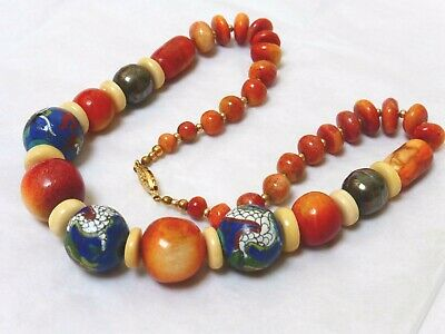 Chinese Vintage Apple Coral Cloisonne Bead Necklace