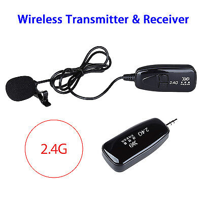 2.4G Wireless Microphone Lapel-Style MIC Receiver&Transmitter for Meeting Black