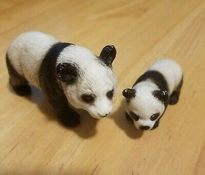 Schleich PANDA BEAR FAMILY Mom & Cub Baby Retired Animal Figures Toy
