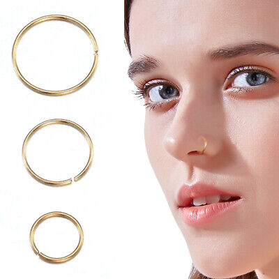 10k Real Yellow Gold Nose Seamless Hoop Thin 8 Mm Small Ring 22